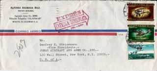 1967 Colombia Airmail Express Special Delivery Cover Bogota To Nyc Ny U.  S.  A. photo