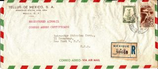 1947 Mexico Registered Airmail Cover Mexico City To York Ny U.  S.  A. photo