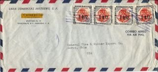 1956 Honduras Commercial Airmail Cover Tegucigalpa To Akron Ohio U.  S.  A. photo