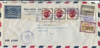 1953 Honduras Commercial Airmail Cover Tegucigalpa To Akron Ohio U.  S.  A. photo