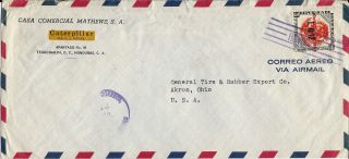 1955 Honduras Commercial Airmail Cover Tegucigalpa To Akron Ohio U.  S.  A. photo