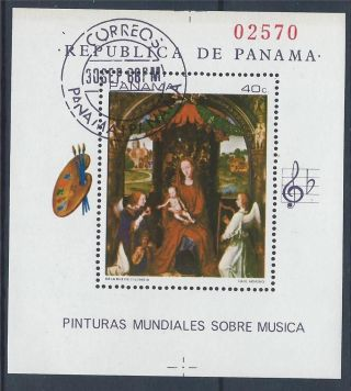Panama 1968 Painting Art Music Hans Memling Mini Sheet Cto A 013 photo