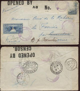 Ww1 Cover Colombia Ny France.  Censor +official Surcharge photo