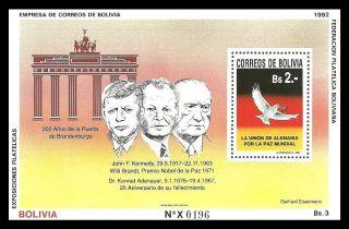 Bolivia 1992 Peace Nobel Prize Kennedy Adenaur Brandt Brandenburg M/sheet photo