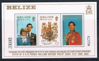 Belize 1982 Birth Of Prince William Sg Ms 720 photo
