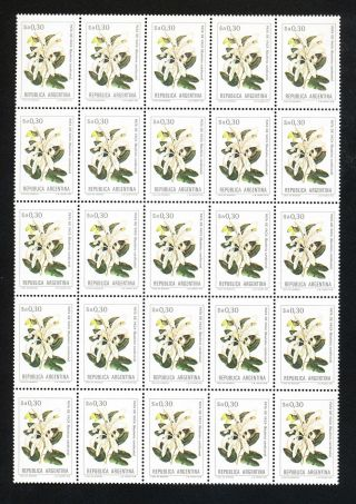 Republic Of Argentina 0.  30 Block Of 25.  Flowers Theme.  (sh34) Post photo