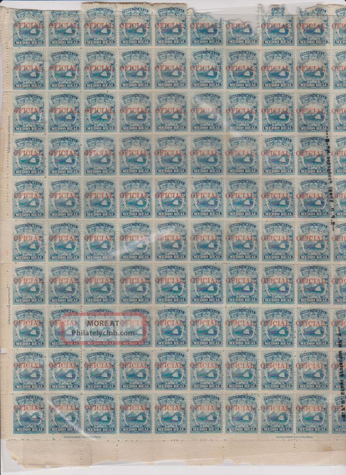 1863 Costa Rica 1 Sheet Of 100 With Official Overprint In Red Damage @ Top Latin America photo