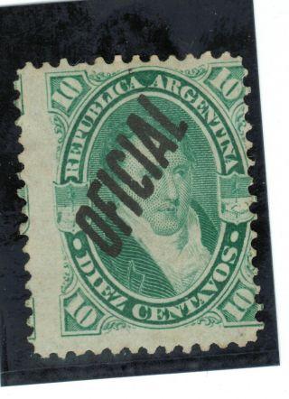 (1884) Sc.  O7/ Gj.  22.  Belgrano 10c W/ Oficial Overp.  No Gum.  Excel.  Cond photo