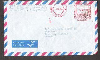 Lima Peru To University Of Toronto Canada 1964 Air Mail photo