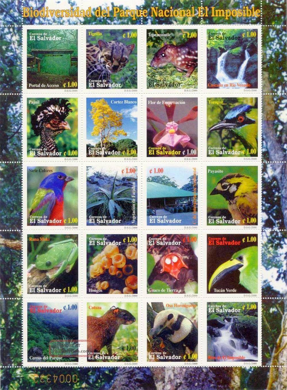 El Salvador 2000 Sc 1538 El Imposible Natl Park 20 Stamp Sheet,  Fauna,  Flora Latin America photo