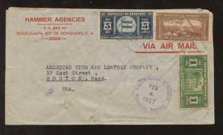 Honduras 1937 Advertising Envelope Hammer Agencies photo