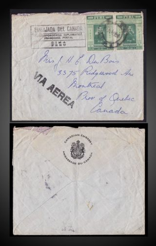 1957 Peru Canadian Embassy Air Cover Sent To Montreal Quebec Canada photo