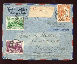 Peru 1935 Air Cover Hotel Crillon Regist.  To Belgium photo