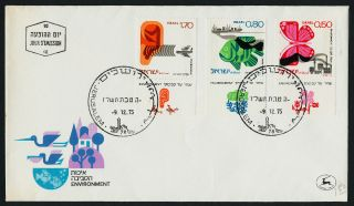 Israel 580 - 2 + Tab Fdc Environmental Protection,  Butterfly,  Fish,  Jet photo
