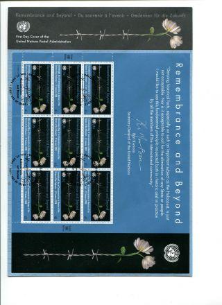 Fdc Of A Sh.  Of 9 Stps Of Un York,  Of The Holocaust Remem.  Decorat.  27.  1.  2008 photo