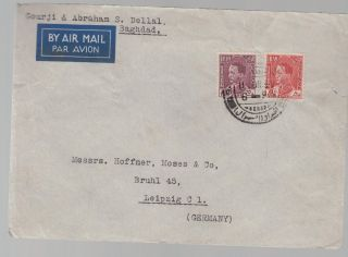1939 Baghdad Iraq Airmail Cover To Germany Gourji Abraham Dellal photo