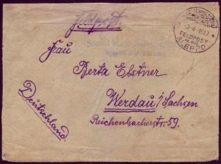 German Military Mail 1917 Cover Gazza Via Aleppo To Berlin; Israel; Certificated photo