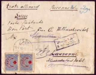 Ottoman Syria Lebanon 1918 Damascus Registered Cover Via Beirut,  Certificated photo