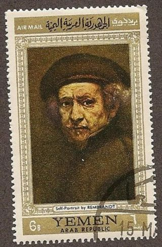 Yemen Arab Republic,  Self - Portrait By Rembrandt,  Cto,  Fg,  Nh,  1968 photo