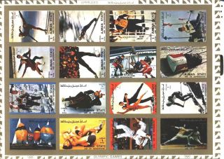 Uae Ajman Sheet Of 16 Olympic Games Imperf On Cartoon Very Rare & Limited photo