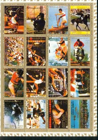 Uae Ajman Sheet Of 16 Olympic Games Perforated On Cartoon Very Rare & Limited photo