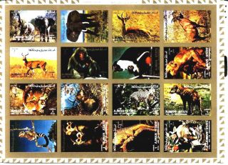 Uae Ajman Sheet Of 16 Wild Animal - Imperf On Cartoon Very Rare & Limited photo