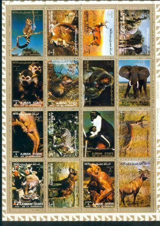 Uae Ajman Sheet Of 16 Wild Animal Perforated On Cartoon Very Rare & Limited photo
