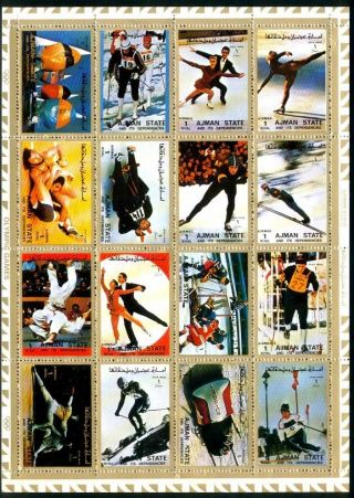 Uae Ajman Sheet Of 16 Olympic Games Ii Perforated On Cartoon Very Rare & Limited photo