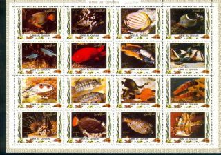 Uae Umm Al Quiwan Sheet Deluxe Cartoon Of 16 Perf Fish Ii photo