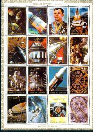 Uae Umm Al Quiwan Sheet Deluxe Cartoon Of 16 Perf History Of Space photo