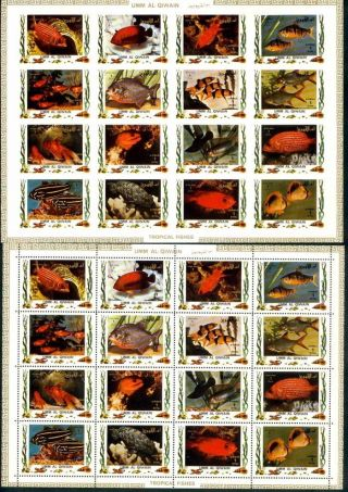 Uae Umm Al Quiwan Sheet Deluxe Cartoon Of 16 Fishs One Perf And Imperf photo