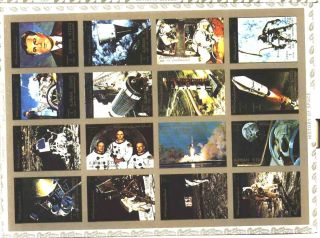 Uae Ajman Sheet Of 16 History Of Space Imperf On Cartoon Very Rare & Limited photo
