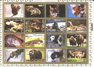 Uae Ajman Sheet Of 16 African Animal Imperf On Cartoon Very Rare & Limited photo