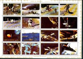 Uae Umm Al Quiwan Sheet Deluxe Cartoon Of 16 Perf Appolo Space photo