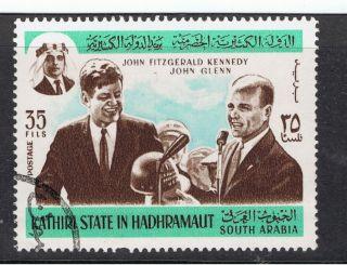 Saudi Arabia.  Kathiri State In Hadhramaut.  J.  F.  Kennedy.  John Glenn.  35 Fils. . photo