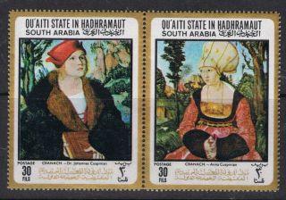 South Arabia.  Qúáiti In Hadhramaut.  Cranach.  2 Paintings.  1967.  30 Fils. . photo