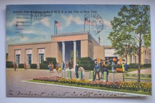 1939 York World ' S Fair Building Ymca,  Stamp photo