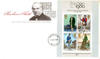 24 October 1979 Sir Rowland Hill Centenary M/sheet First Day Cover Glasgow Fdi photo