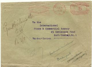 Germany 1920 Atm Meter Franked Cover Deutches Reich Berlin India Bombay photo