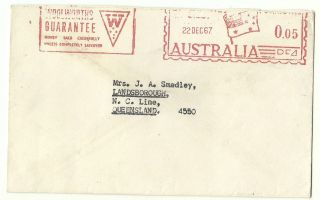 Australia 1967 Picto.  Advt.  Atm Meter Franked Cover Flag Australia India Bombay photo