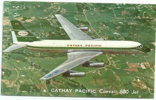 Cathay Pacific Hong Kong Airline Issue Cv880 Postcard Air Mail Thailand Usa 1965 photo