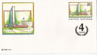 United Nations 1991 25c + 4c Pre Paid Envelope Small / York photo