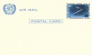 United Nations 1963 6c Pre Paid Air Mail Postcard York photo
