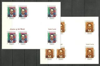 Saint Lucia 2 Blocs X6 - World Leaders - Michel 3406 - Proof Reproduction photo