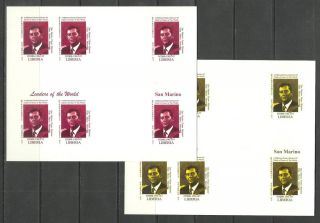 San Marino 2 Blocs X6 - World Leaders - Michel 3403 - Proof Reproduction photo