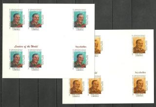Seychelles 2 Blocs X6 - World Leaders - Michel 3413 - Proof Reproduction photo