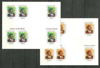 Solomon Island 2 Blocs X6 - World Leaders - Michel 3407 - Proof Reproduction photo