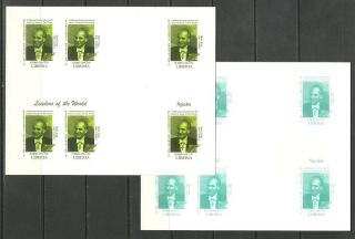 Spain 2 Blocs X6 - World Leaders - Michel 3421 - Proof Reproduction photo