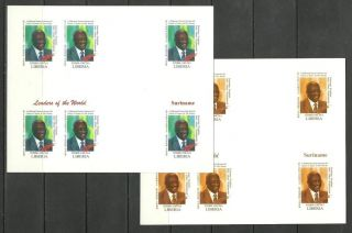 Suriname 2 Blocs X6 - World Leaders - Michel 3418 - Proof Reproduction photo