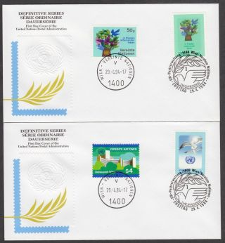 2 Fdcs 1994 United Nations Vienna - Definitive Series (donaupark Flowers Dove) photo